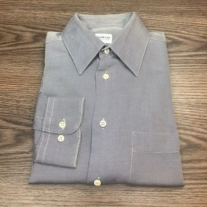 Giorgio Armani Grey Twill Dress Shirt 15 32/33